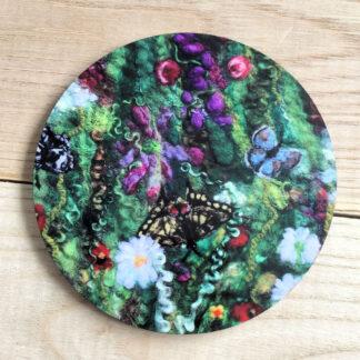 Blooming Butterflies Round Cork Coaster