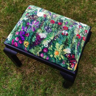 Blooming Butterflies Velvet Print Upholstered on Stool