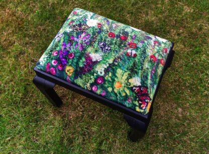 Blooming Butterflies Velvet Print Upholstered on Stool