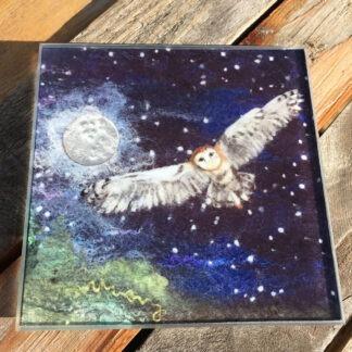 Midnight Owl Glass Coaster