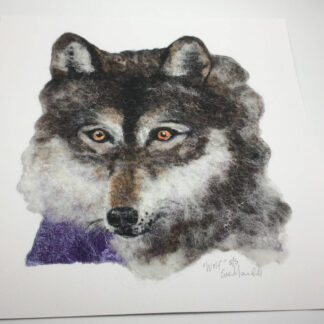 "A small giclee print of my ""Wolf"" felted artwork that I made in 2019."