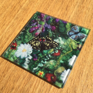 Blooming Butterflies Glass Coaster