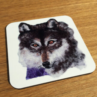 Wolf square cork coaster