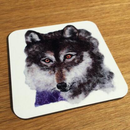 Wolf square cork coaster