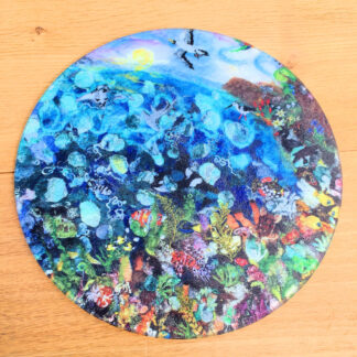 great barrier reef glass chopping board