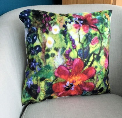 Tartan of Flowers Bee & Lily Vegan Suede Cushion