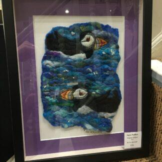 Aqua Puffins Original Framed Artwork