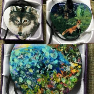 Felted Animal Ceramic Pendant