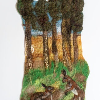 Hare Stroll Original Felted Picture