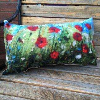 Poppies Vegan Suede Cushion