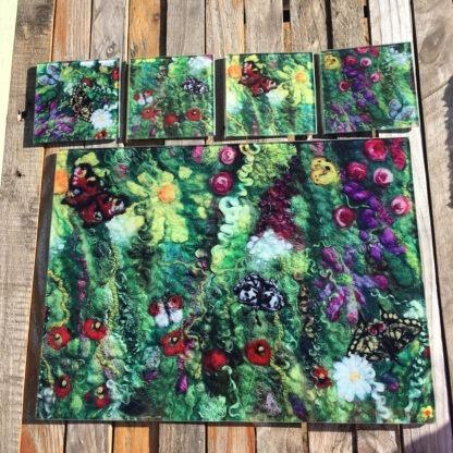 Blooming Butterflies Glass Worktop Saver & 4 Coasters Gift Set