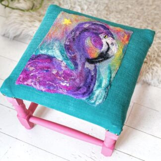 Funky Flamingo Felted & Upholstered Stool