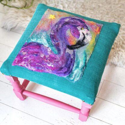 Funky Flamingo Felted & Upholstered Stool