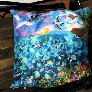 Great Barrier Reef Vegan Suede Cushion