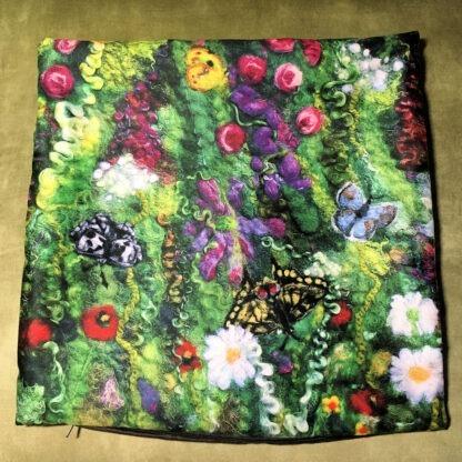 Blooming Butterflies vegan suede cushion