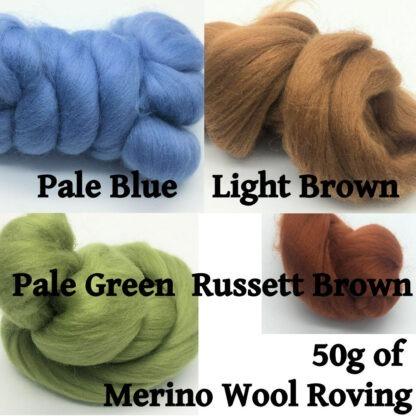 50g of Merino Wool Roving Set 1