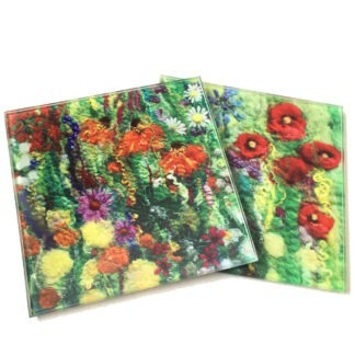 Flower Outbreak Printed Glass Coaster Set of 2