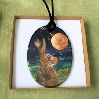 Harvest Moon Hare Printed Ceramic Double-Sided Pendant