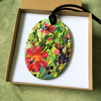 Tartan of Flowers Printed Ceramic Double-Sided Pendant