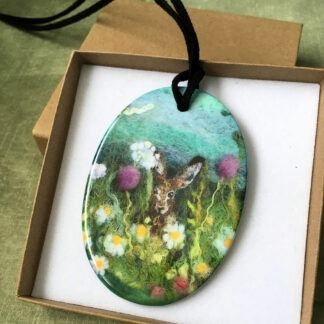 Summer Hares Printed Ceramic Double-Sided Pendant
