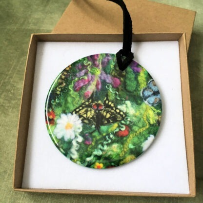 Blooming Butterflies Printed Ceramic Double-Sided Pendant
