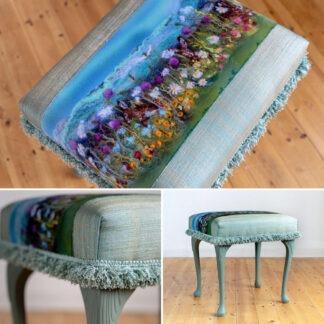 Summer Hares Upholstered Dressing Table Stool
