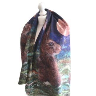 Harvest Moon Hare Limited Edition Printed Fleece Blanket Scarf