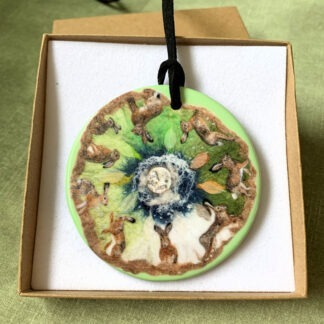 Hare Calendar Circle Printed Double-Sided Pendant