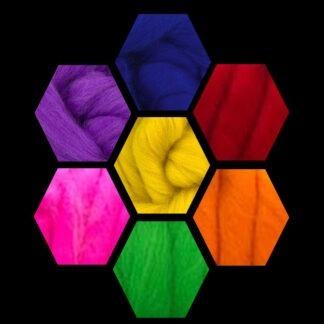 Merino Wool Roving Rainbow Colours 100 gram bag