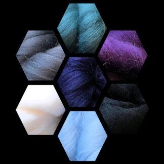Merino Wool Roving Stormy Colours 100 gram bag