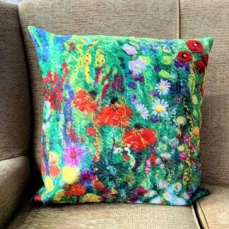 flower outbreak vegan suede cushion