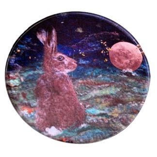 Harvest Moon Hare Round Glass Coaster