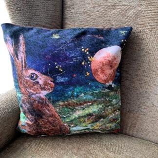 Harvest Moon Hare Vegan Suede Cushion