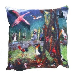 Odd Bird Tree II vegan suede cushion