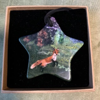 Midnight Visitors Fox and Owl Printed Double-Sided Pendant