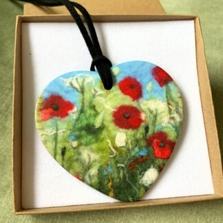 Poppies Printed Ceramic Double-Sided Pendant