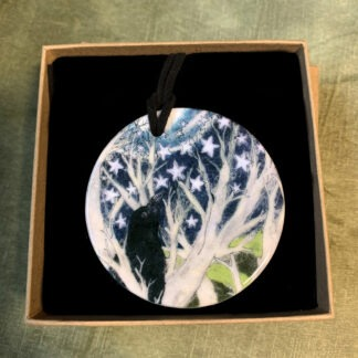 Crows Printed Double-Sided Pendant