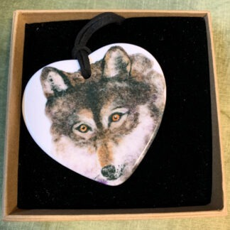 Wolf Printed Ceramic Double-Sided Pendant
