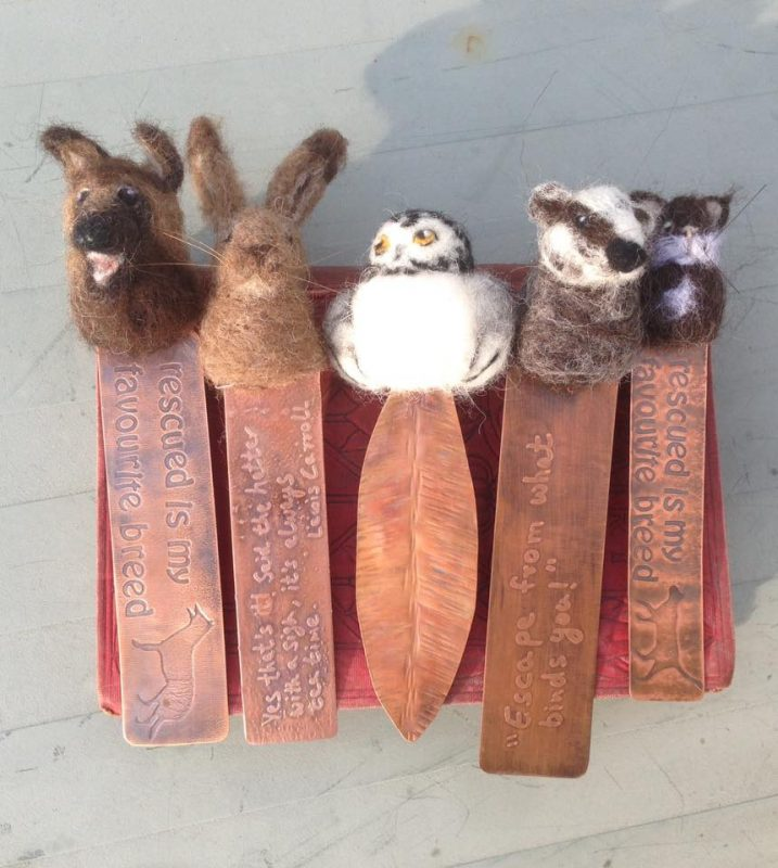 felt and copper bookmarks